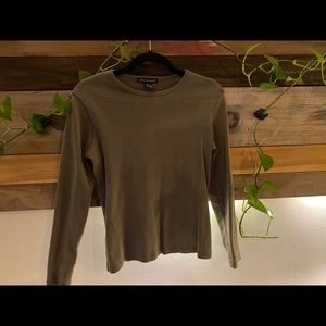 PRIME ELEMENTS Thick Green Long Sleeve Casual Top